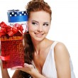 Foto Stock: Female with birthday present