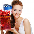 Female with birthday present — Stock Photo