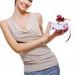 Woman holding the present box — Stock Photo