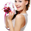Happy joy female with a gift — Stockfoto