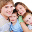 Portrait of loving happy young family — Stok fotoğraf