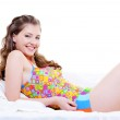 Happy beauty woman in a bed — Stock Photo #1506058
