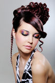 Woman with fashion creative hairstyle — Stock Photo