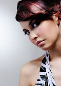 Woman with bright fashion make-up — Stock Photo