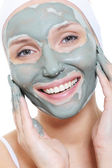 Woman applying the mask of cosmetic — Stock Photo
