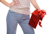 Unrecognizable person with gift box — Stock Photo