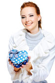 Woman present the birthday gift — Stock Photo