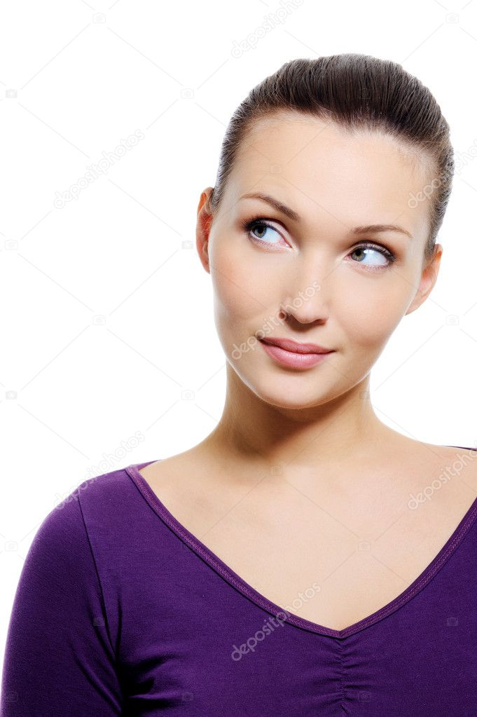 Portrait of young thinking woman and looking away - over white background — Stock Photo #1501713