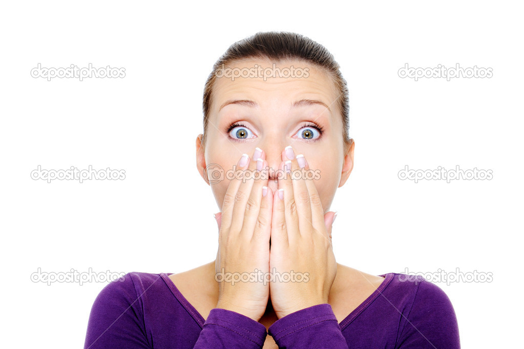 Portrait of young female with bright surprise emotion - over white background — ストック写真 #1501732