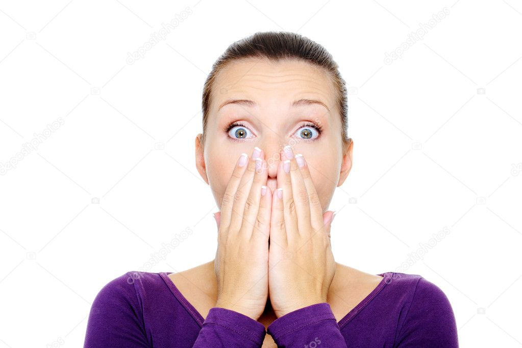 Portrait of young female with bright surprise emotion - over white background — Stok fotoğraf #1501732