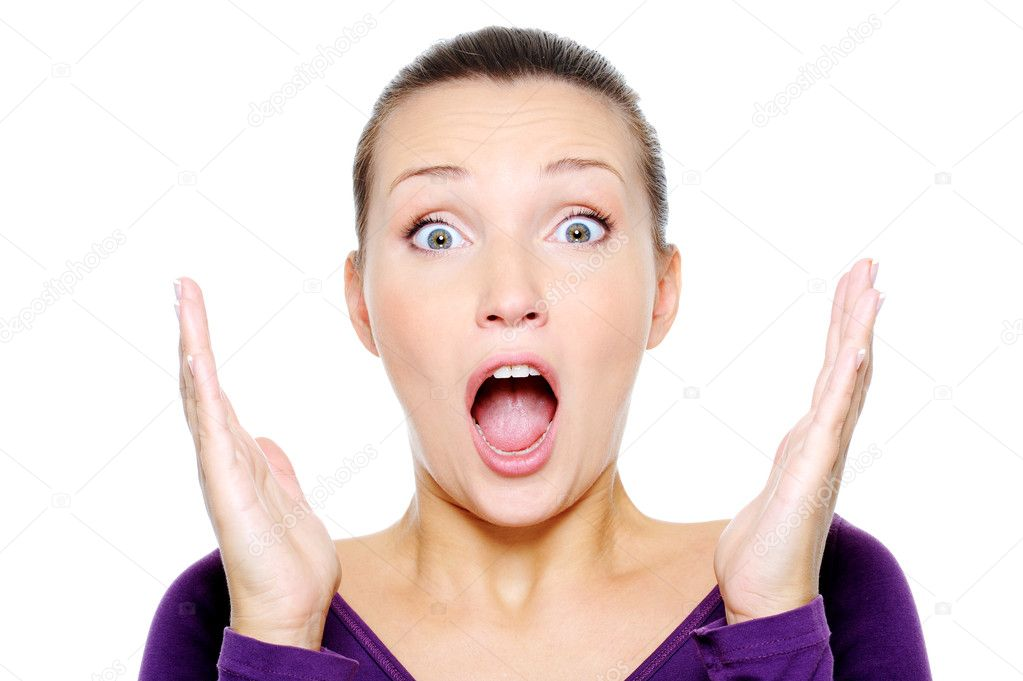 Portrait of young screaming woman with hands up - isolated  Stock Photo #1501736