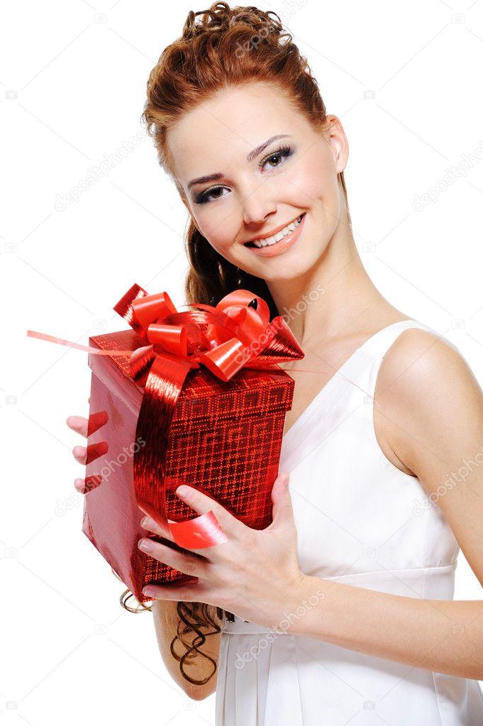 Фото девушка и подарок
