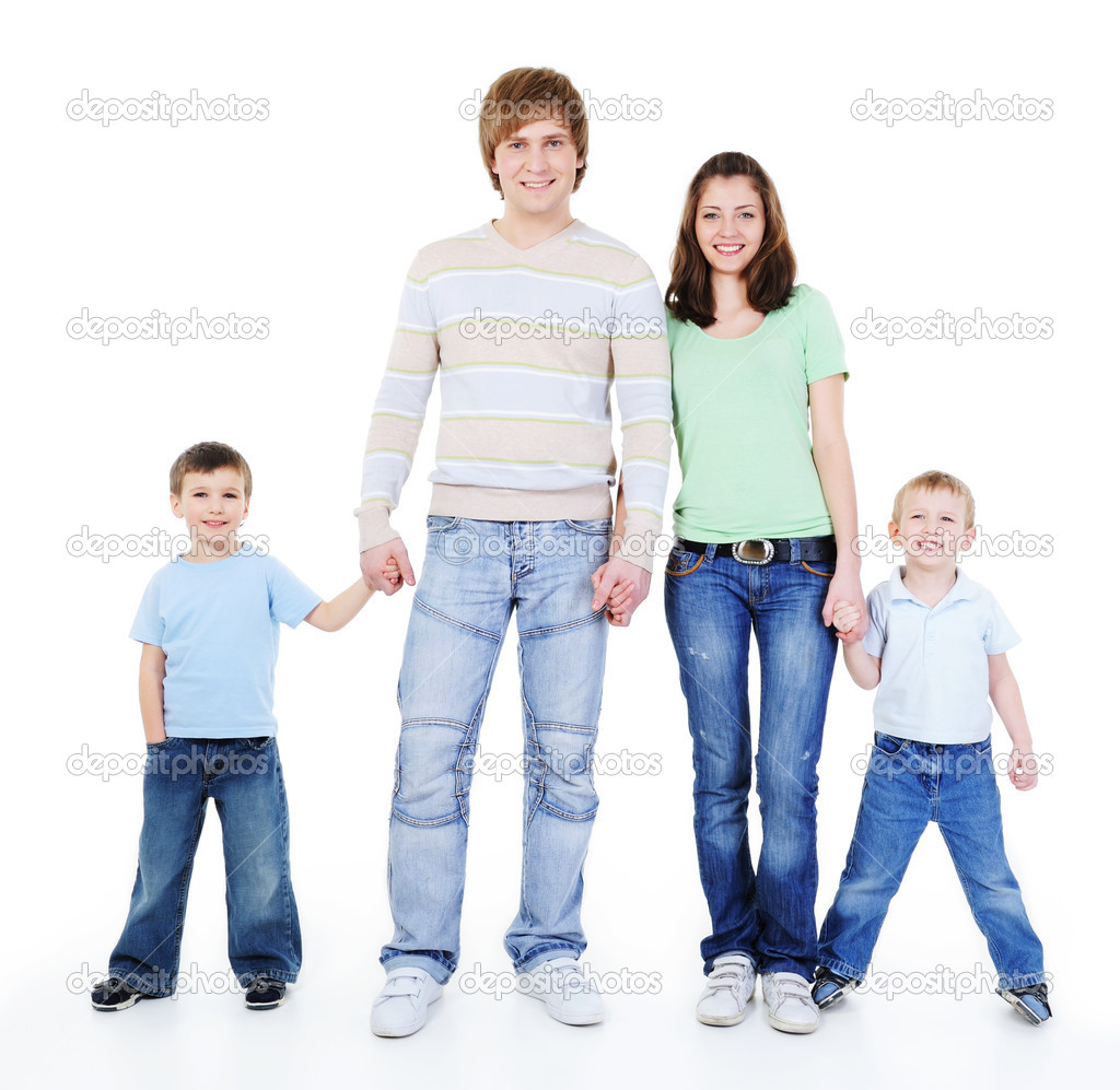 Unity of happy loving young family holding each other hands — Stock Photo #1503110
