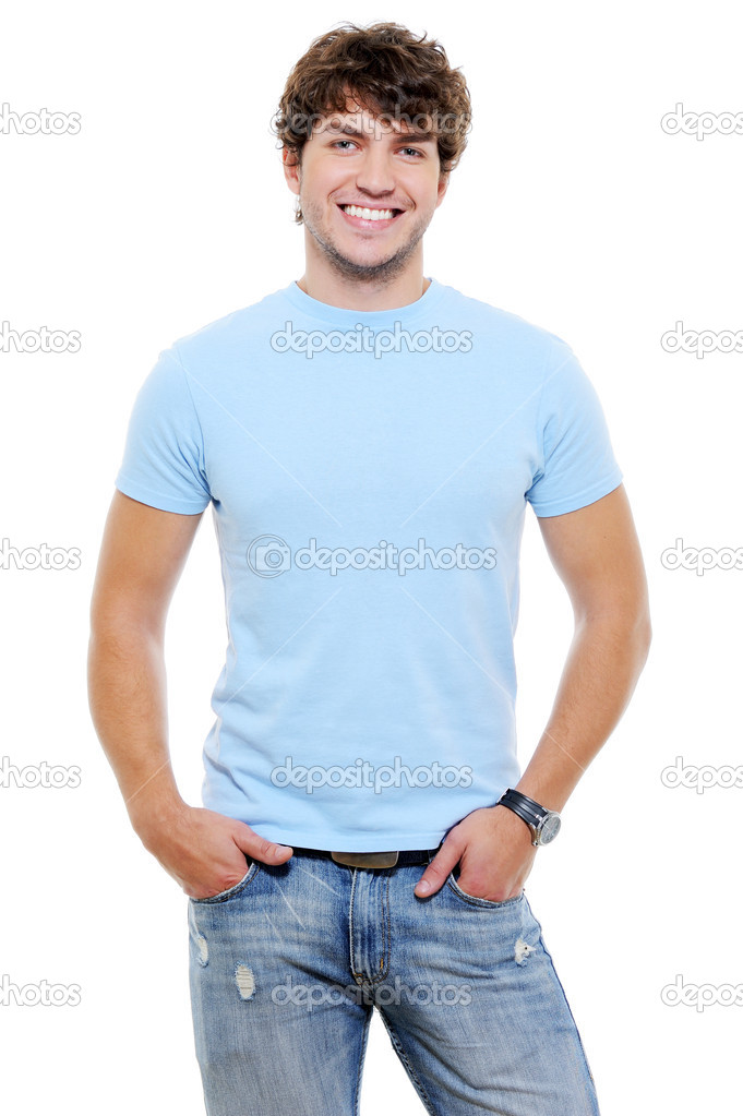 Portrait of smiling happy glad guy in casuals - isolated on white — Stock Photo #1503178