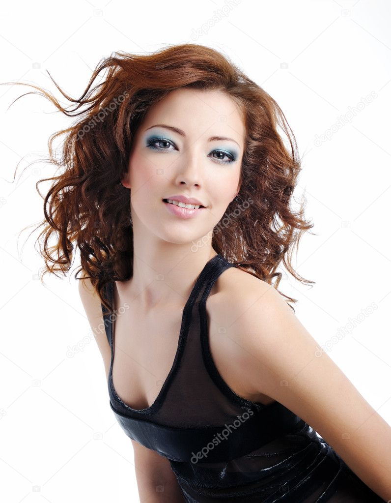 Portrait of beautiful and fashion model woman with blown hairs — Stock Photo #1503904