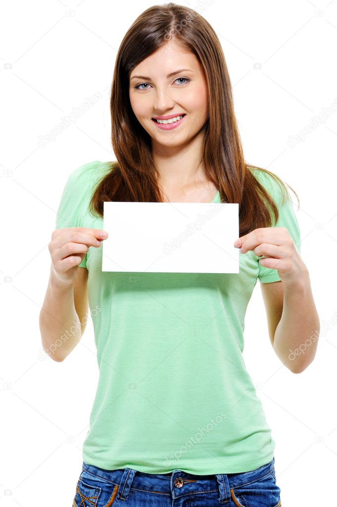 Portrait of an attractive young adult woman holding blank card - over white background — Stock Photo #1506029