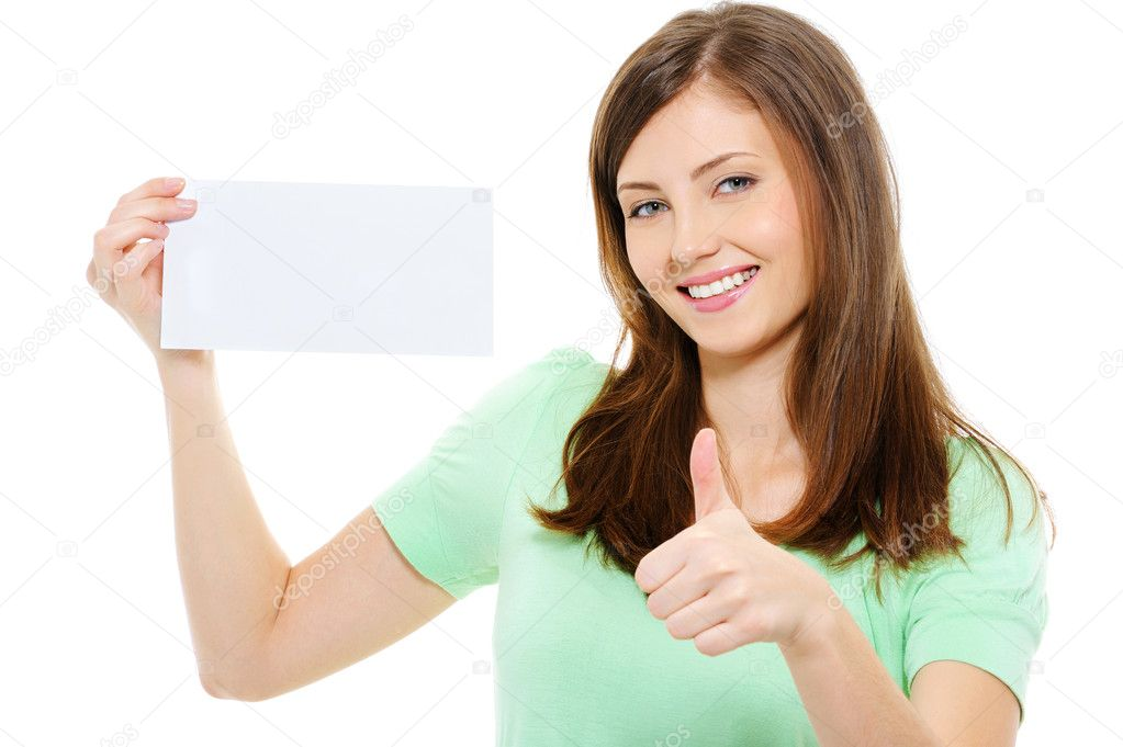 Young beauty woman hold blank card and showing thumbs-up over white background — Stock Photo #1506037