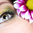 Eye with bright multicolored make-up — 图库照片