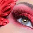 Fashion woman eye make-up with flower — Stock Photo