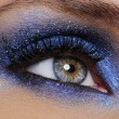 Stock Photo: Eye with bright blue eyeshadow