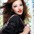 Beautiful modern girl shopping bag - Stock Photo