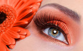 Mode oranje oog make-up — Stockfoto