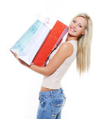 Purchases and gifts for woman — Stock Photo