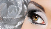 Fashion silver make-up — Stock Photo