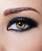 Eye with bright black glamour make-up — Stock Photo