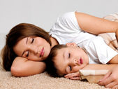 Sleeping mother and the child — Stock Photo