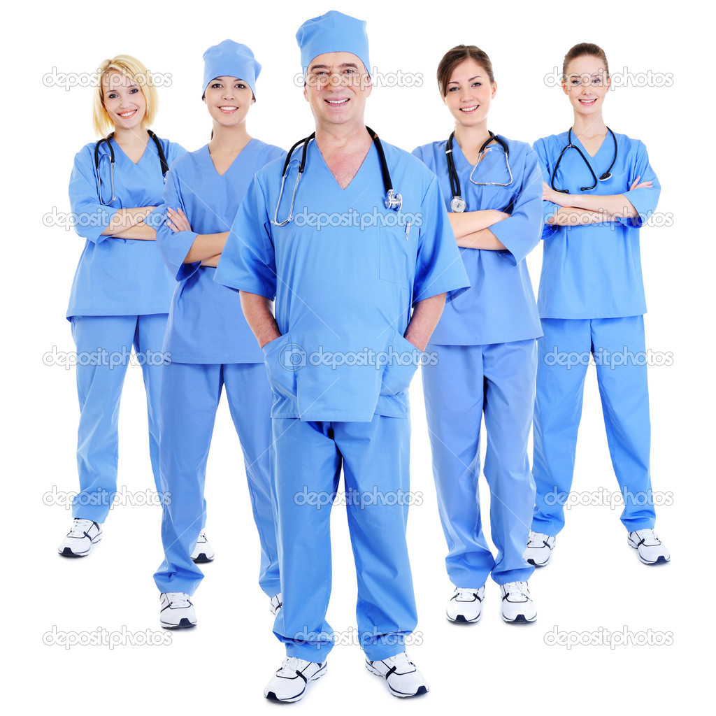 Group of successful laughing surgeons in blue uniforms - white background — Stock Photo #1514542