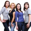 Group of four happy smiling women — Foto Stock
