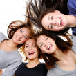 Group portrait of fun, happy women - Stok fotoğraf