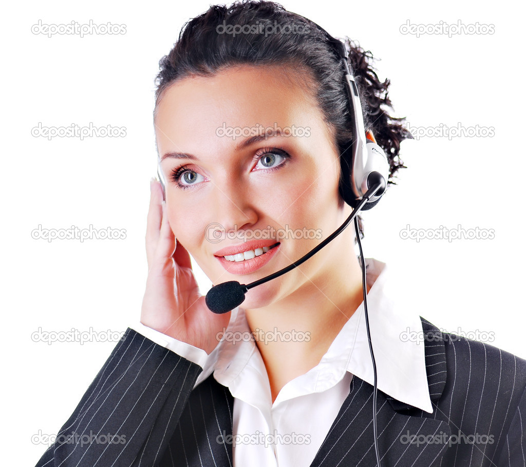Woman wearing headset in office - isolated on white — Stock Photo #1520054