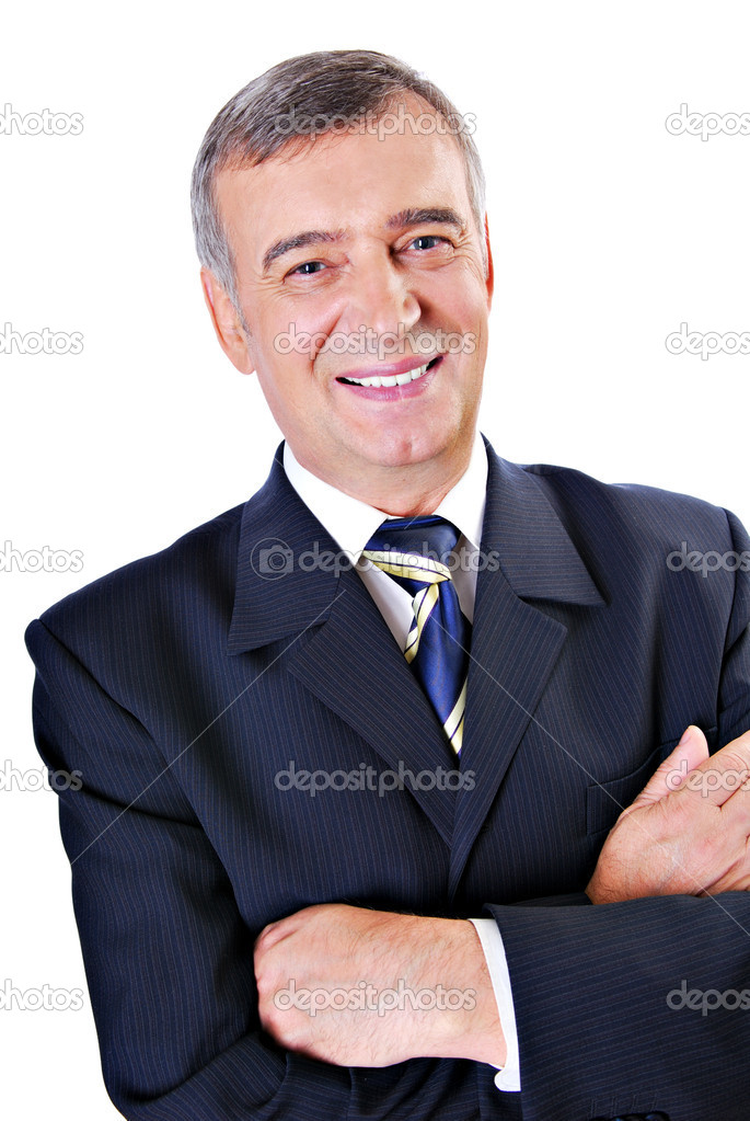 Cheerful face of successful senior adult businessman isolated on white.  Stock Photo #1520060