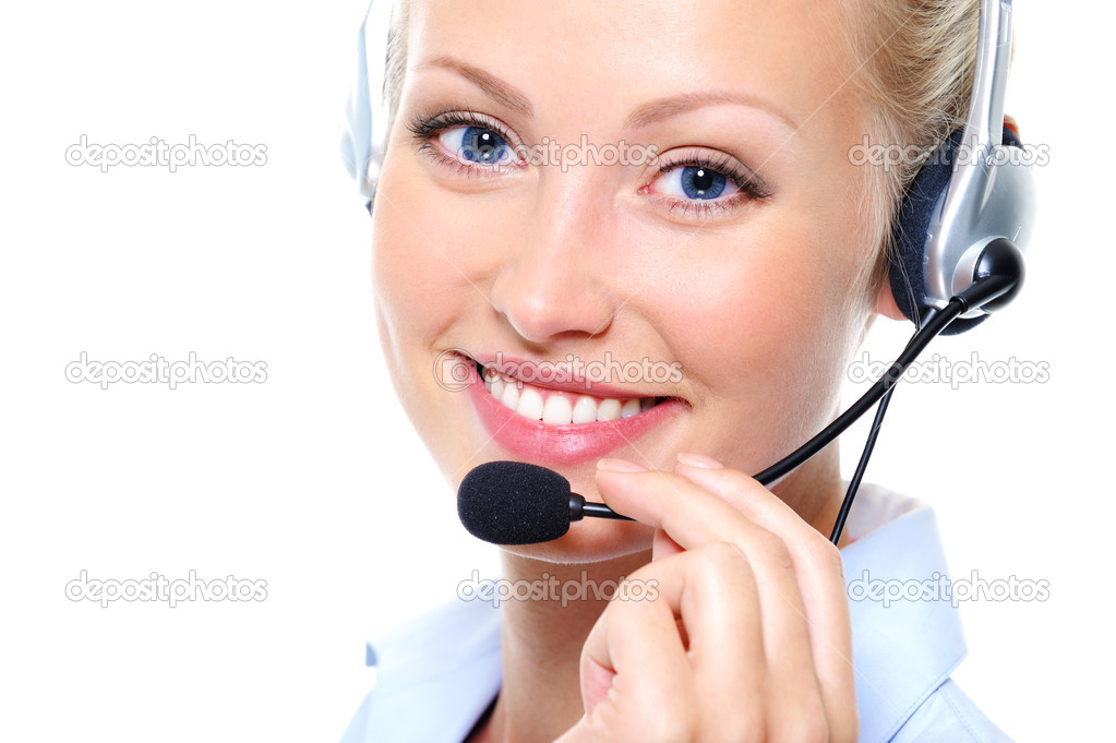 Happy smile of pretty young female operator with headphones — Stock Photo #1525653