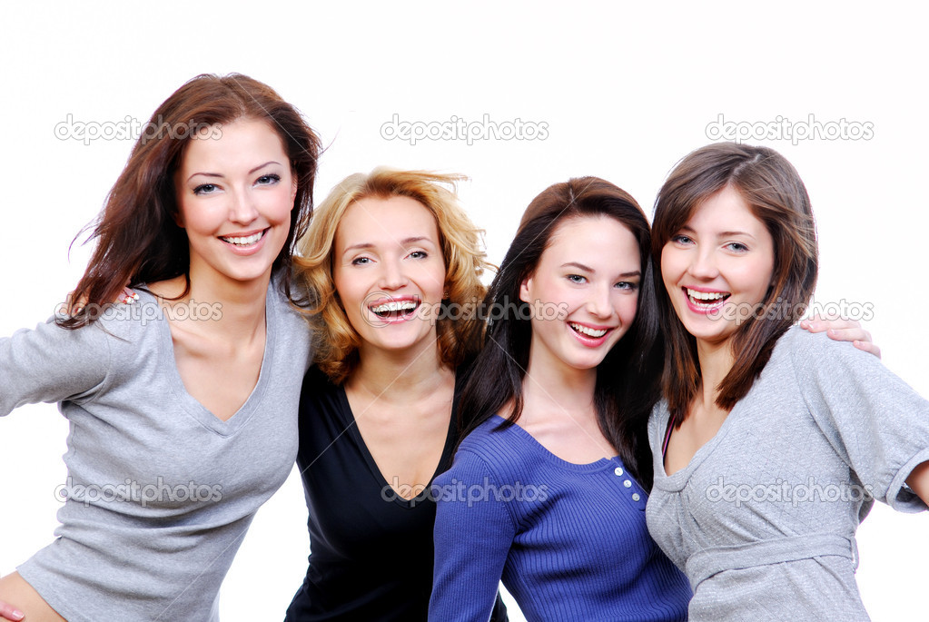 Group of four sexy, beautiful young happy women. Isolated on white — Zdjęcie stockowe #1525862