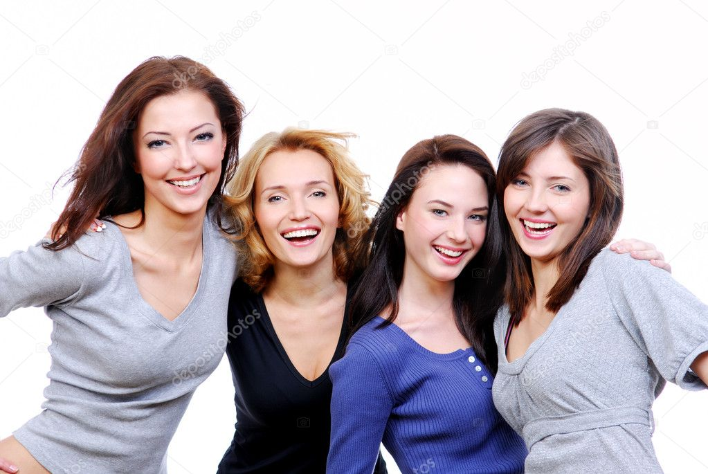 Group of four sexy, beautiful young happy women. Isolated on white — Stock Photo #1525862