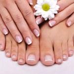 Skincare of a beauty female feet — Stock Photo