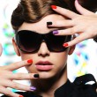 Woman fashion multicolored manicure — 图库照片