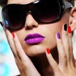 Female face with stylish sunglasses — Stock Photo #1537833