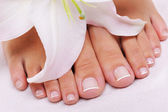 French pedicure on a female feet — Stock Photo