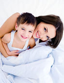 Happy mother and her pretty son — Fotografia Stock