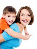 Appy cheerful mother with little son — Stock Photo