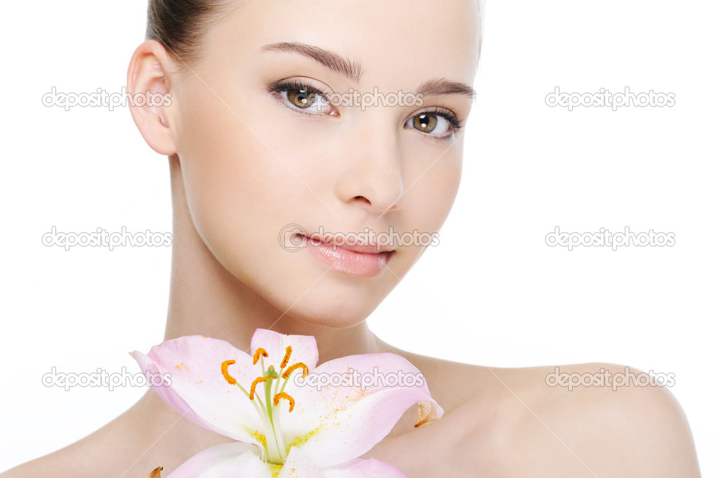 Nice beautiful clean health female face close-up - white background  Stock Photo #1535429