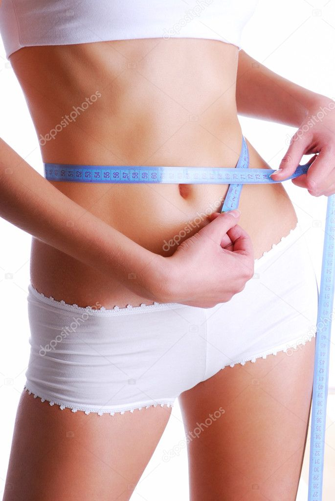 Woman measuring beauty slim waist. Health eating concept — Stock Photo #1537386