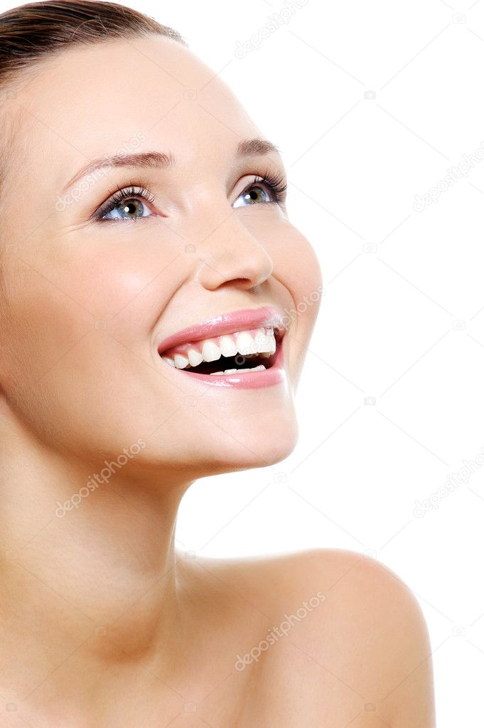 Happy laughing woman portrait with a white healthy teeth - isolated on white — 图库照片 #1537502