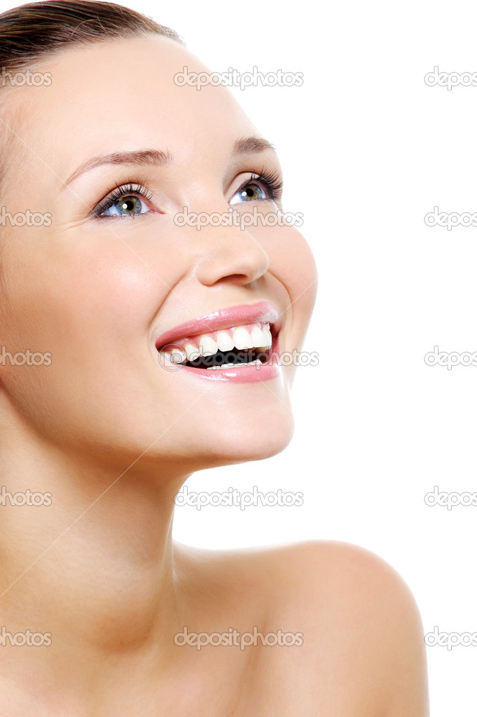 Happy laughing woman portrait with a white healthy teeth - isolated on white — Photo #1537502