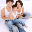 High angle portrait of the happy family — Stok fotoğraf