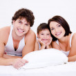 Beautiful young happy family — Stock Photo